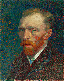 Impressionist portrait painting of a man with a reddish beard wearing a dark coat and white shirt while looking forward with his body facing left