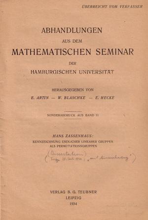 English: Hans Zassenhaus dissertation: title p...