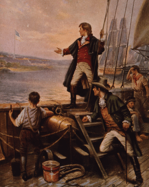 Francis Scott Key standing on boat, with right...