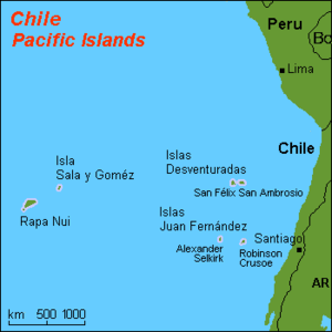 map of some Chilean islands in the Pacific ocean