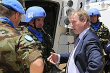 Kenny meeting members of Ireland's Defence Forces deployed on a UN mission in Lebanon