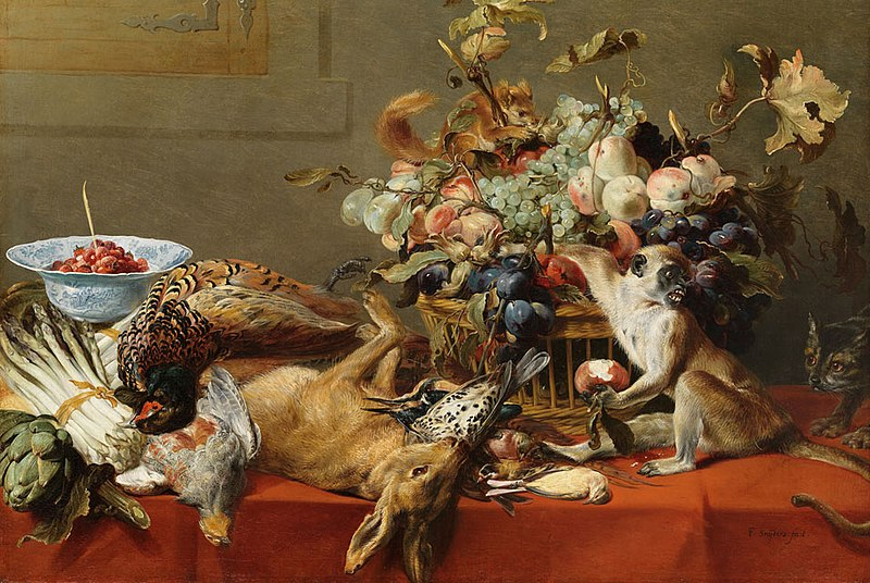 Tập tin:Frans Snyders (1579–1657), Still Life with Fruit, Dead Game, Vegetables, a Live Monkey, Squirrel and Cat. Oil on canvas.jpg