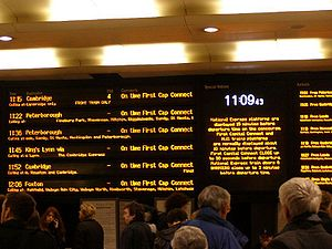Kings Cross, London - The departures board at ...