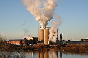 English: Newark Sugar Factory Low winter sun a...