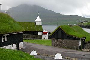 Traditionnal buildings with green roofs at Nor...