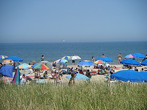 A view of the beach in Rehoboth Beach, Delawar...