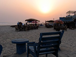 Beach at sunset in Accra Ghana