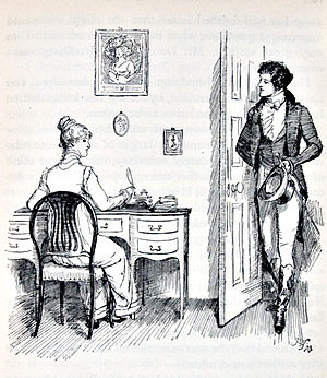 Darcy and Elizabeth at Charlotte Collins' house, Ch. 32, in Austen, Jane. Pride and Prejudice.