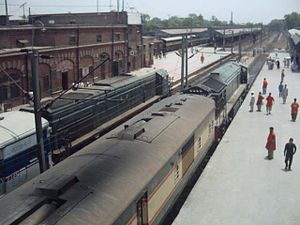 Two trains from above lahore railway station