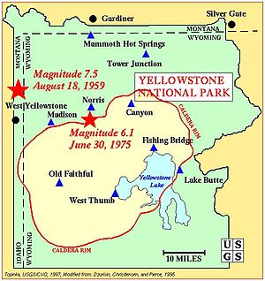 English: USGS map of Yellowstone Caldera showi...
