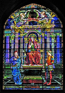 """The work of art shown is a 1901 work by John LaFarge (1835-1910). """"Figure of Wisdom,"""" stained glass window in Unity Church, North Easton, MA. Photo credit:  Daniel P. B. Smith, 2005 (wikipedia entry on John LaFarge)"""
