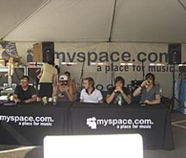Anberlin Preparing For A Meet And Greet At The Myspace Tent On The 2007 Tour Performers Often Meet With Fans And Sign Autographs At The Various Artist And