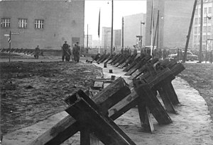 Anti-tank barriers just inside East Berlin.