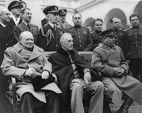 Winston Churchill, Franklin D. Roosevelt y Yósif Stalin en Yalta, Febrero de 1945