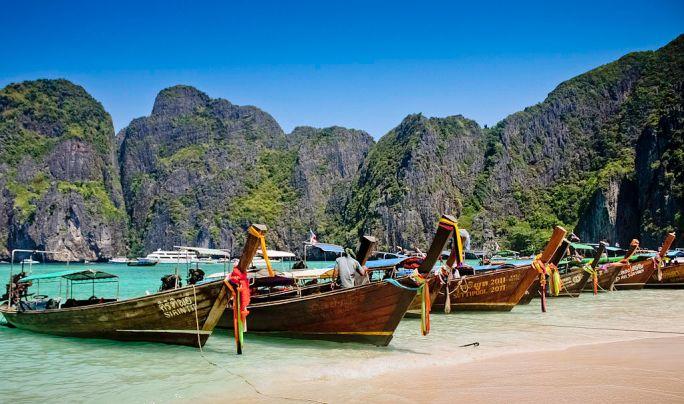 Longtail Boat At Maya Bay, Krabi, Thailand