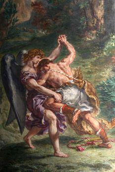 Lutte de Jacob avec l'Ange (détail) Fresque d'Eugène Delacroix à Église Saint-Sulpice (Paris)