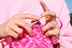 Close-up of knitting