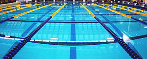 Swimming pool with lane ropes in place cropped