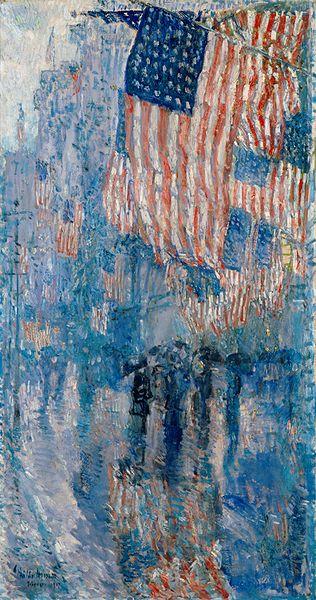 """""""The Avenue in the Rain"""" -- Frederick Childe Hassam -- 1917"""