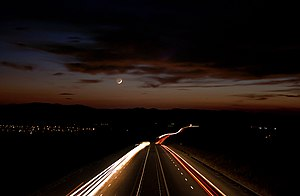 English: Trakia highway at night