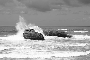 English: Wave on a rock in Biarritz Français :...