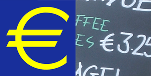The euro sign; logotype and handwritten.