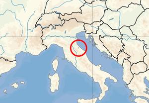 Location of San Marino in Europe on 1. Januar 2007