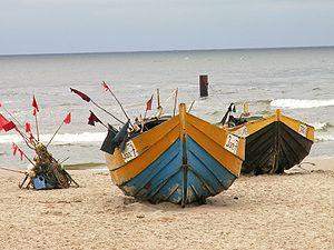 Clinker built fishing boats at JantarDisambigu...