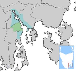 Carte de la City of Hobart, Tasmanie, Australie