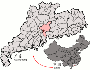 Location of Guangzhou in the province