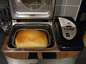 Making bread in bread machine.