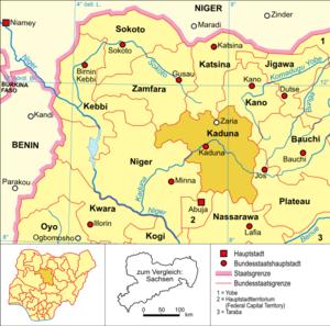 Deutsch: Politische Karte Nigerias (Bundesstaa...
