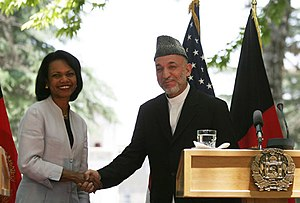 Secretary Rice meets with Afghan President Ham...