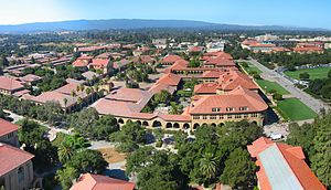 View from Hoover Tower observation deck of the...