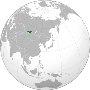 English: Green: Tuvan People's Republic