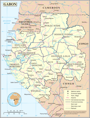 An enlargeable map of the Gabonese Republic