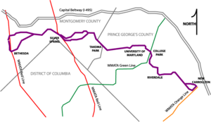 Schematic map of the proposed Purple Line alig...