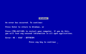 Blue Screen of Death.