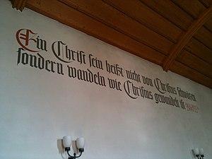 Deutsch: Zitat Zwingli in der reformierten Kir...