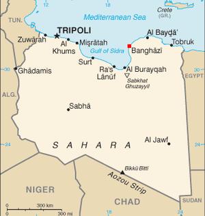 Location of Benghazi within Libya.