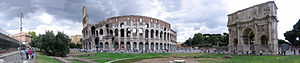 Colosseum and Arch of Constantine - panoramic ...