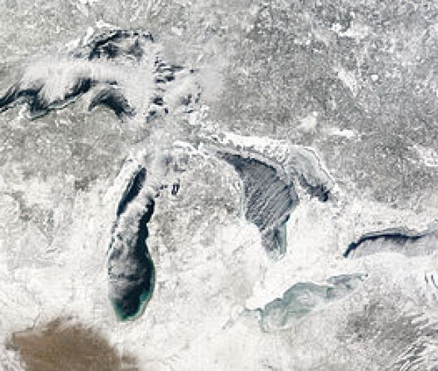Terra Modis Image Of The Great Lakes January   Showing Ice Beginning To Build Up Around The Shores Of Each Of The Lakes With Snow On The Ground
