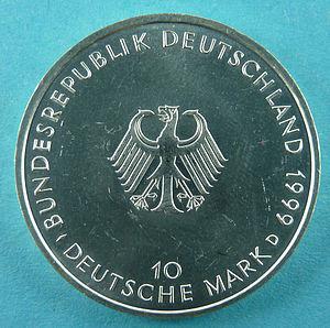 """Deutsch: Rückseite der 10-DM-Gedenkmünze """"..."""
