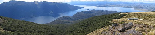 Luxmore Hut and Lake Te Anau from the Kepler Track (by Nigel Wilson)