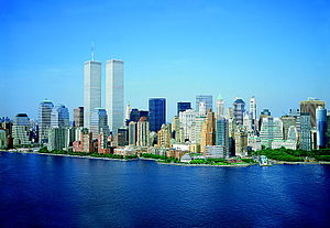 The Lower Manhattan skyline shortly before 9/1...
