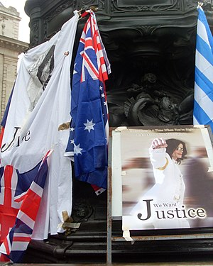 English: Justice for Michael Jackson demonstra...