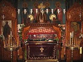 Τα λείψανα του Σάββα του Ηγιασμένου στη Μεγάλη Λαύρα.