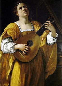 Saint Cecilia by Artemisia Gentileschi: a woman in a golden dress plays the lute