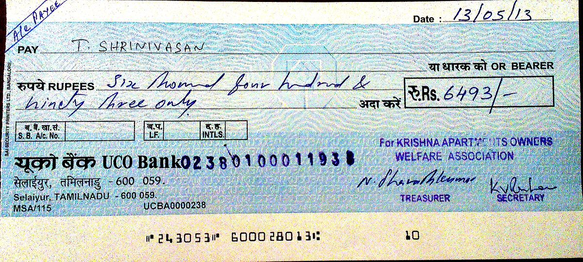Cheque Wiktionary