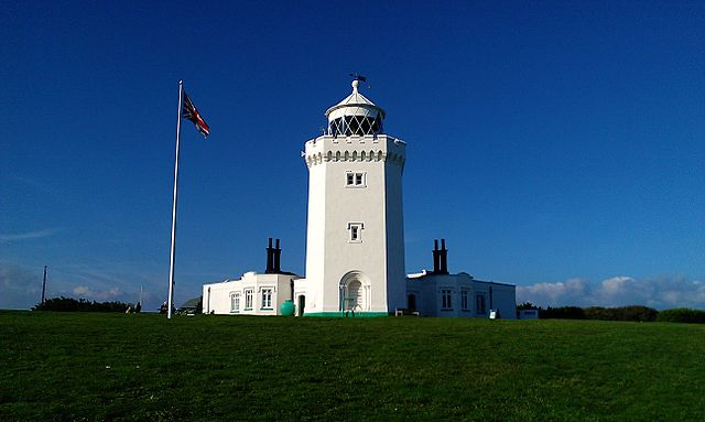 The front of South Foreland Lighthouse atop the White Cliffs of Dover near to Dover, Kent, in south-east England
